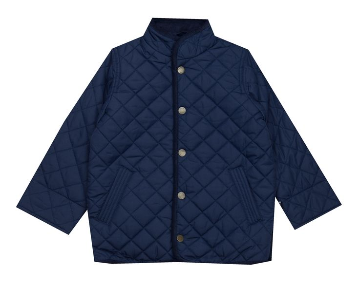 E-Land Navy Quilted Jacket - Baby/Boy