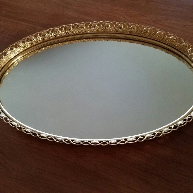 Rose Vanity Mirror Dresser Tray Hollywood Regency 1950 S