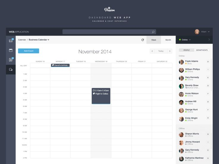 Dashboard Web App: Calendar & Chat by Michał Ptaszyński for EL Passion