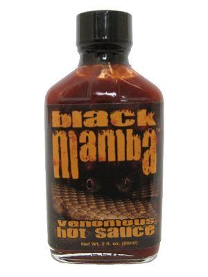 Black Mamba Extreme Venomous Hot Sauce, 2oz.:   Black Mamba Extreme Venomous Hot Sauce, 2oz.: Black Mamba Venomous, A blend of Chocolate Habaneros (their heat rivals the Red Savina pepper) and a blend of extracts that make this one of the HOTTEST sauces! Beware the bite of the Black Mamba! The new hottest sauce from Cajohn's. Made with flavorful chocolate habanero peppers and several types of capsaicin extracts, it's Bite is deadly! Although it hasn't been tested, it's reportedly said ...