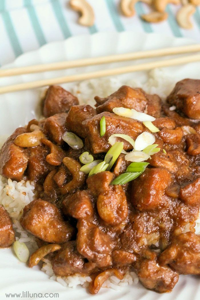 Crock Pot Cashew Chicken - such an easy and delicious dinner recipe! This dish is full of flavor and can be served with rice or noodles!