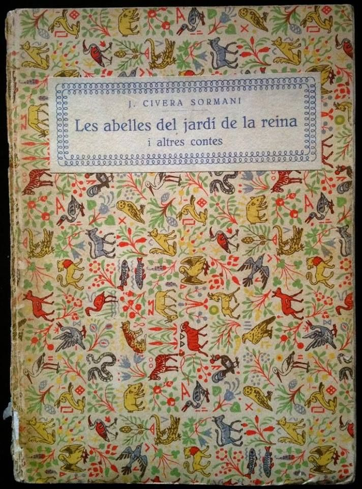 old French book cover with tiny animal pattern