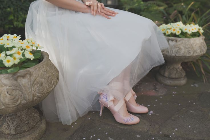 'Darcy' - Pastel pink shoes with Butterfly print - Inspired by a ballet and butterflies theme - Marsha Hall Shoes! Fairytale wedding -   - Perfect bespoke shoes for Wedding's, Special occasions, and everyday -  For more information visit Marsha Hall's website - http://www.marshahall.com/