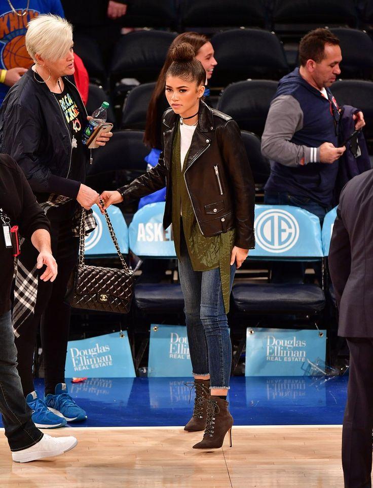 Zendaya at the New York Knicks vs Oklahoma City Thunder game at Madison Square Garden in NYC 11/28/16