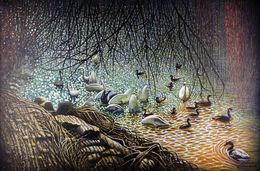 Swans Cygnets and Ducks by simon-knott-fine-artist at zippi.co.uk