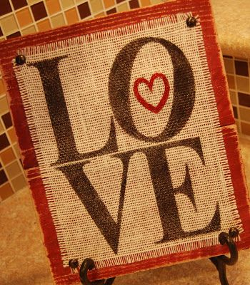 Print something great on burlap and pin to a piece of wood = Easy rustic decoration!