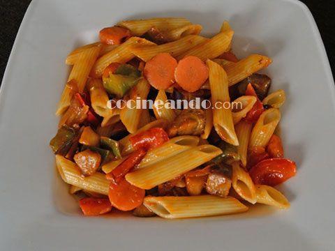 Receta de macarrones con verdura estofada - Cocineando