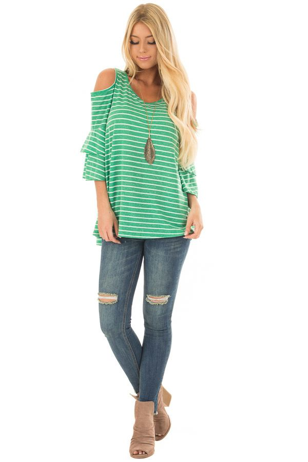 3697288bc018d Kelly Green Striped Cold Shoulder Top front full body
