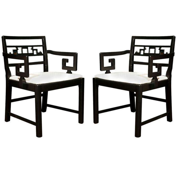 Pair of greek key arm chairs