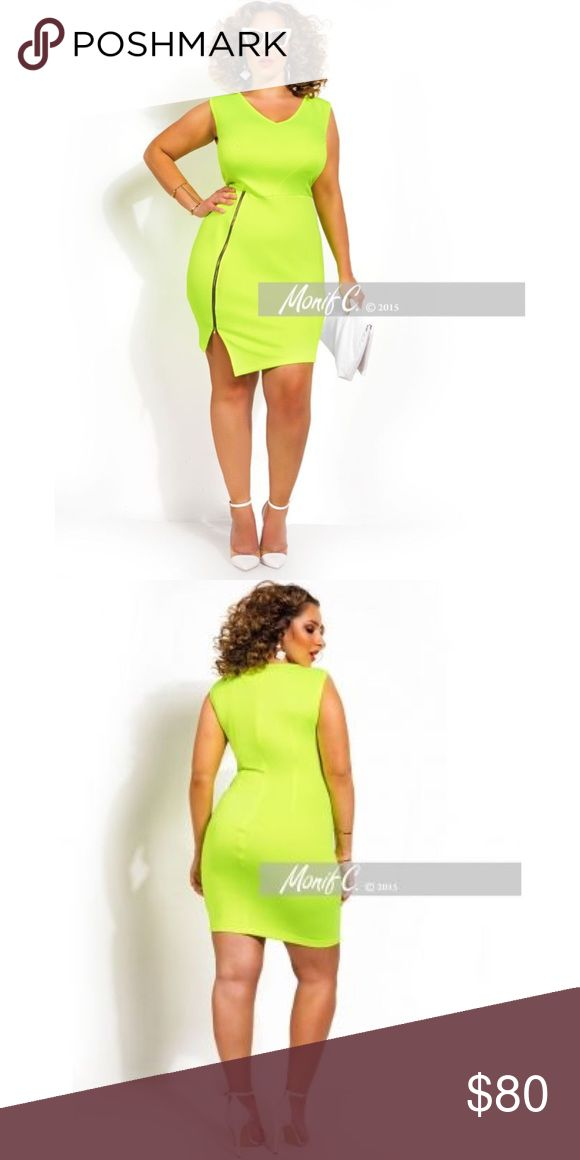 Monif C neon yellow dress BNWT 1X or 14/16 Monif C neon yellow dress BNWT 1X or 14/16. Super bright! Monif C. Dresses