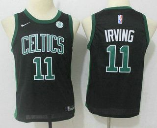Youth Boston Celtics  11 Kyrie Irving Black 2017-2018 Nike Swingman General  Electric Stitched b324d144b