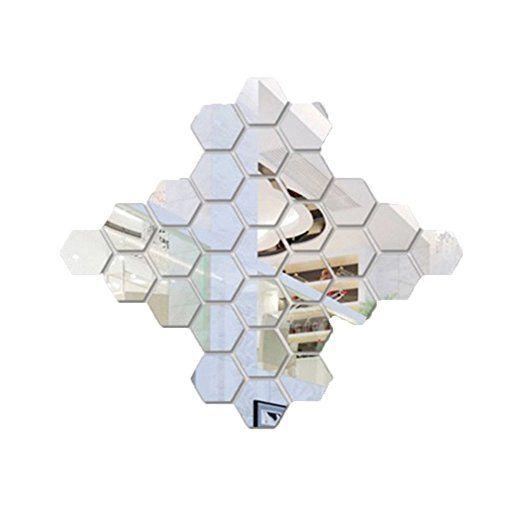 SZTARA 3D-Spiegelfliesen, Sechseck, Selbstklebend, Wand Deko-Sticker, Heimdekoration, Kunststicker für Wohnzimmer silber