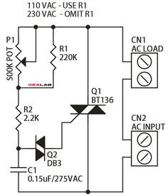 Triac Based Indecent Lamp Dimmer Is A Simple Circuit And It Doesn T Requires Additional Powe Electronic Schematics Electronic Circuit Projects Electronics Lab