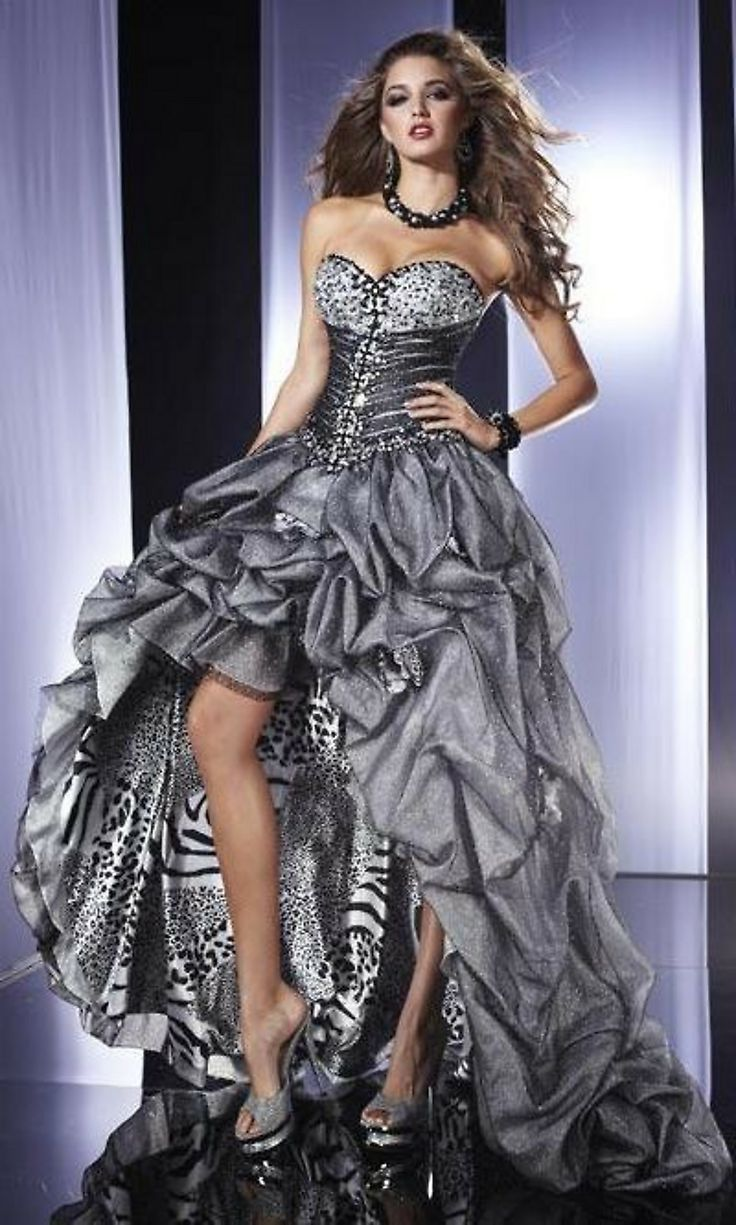 Strapless High-Low Gown, Silver Animal Print Prom Dress