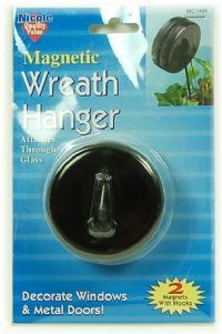 this is a magnetic wreath hanger. you can use it on windows(it attaches through the glass) how cool is that, just what i need to hang wreaths for the hoildays  on my high windows. -this site was sold out, will need to look for them some where else.