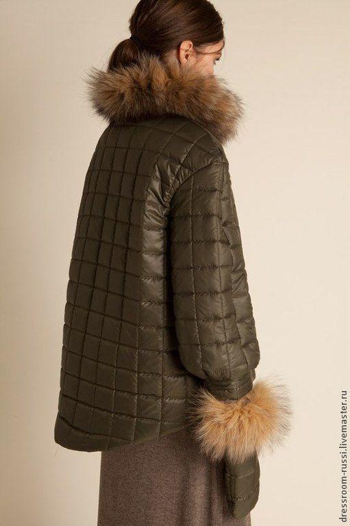 Купить Куртка с мехом лесы!!! - хаки, однотонный, куртка женская, куртка на молнии, Куртка зимняя