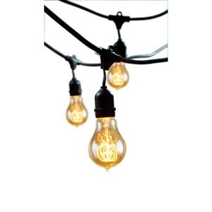 Black 48 Foot 15 Light Outdoor String Light With Incandescent 11S14 Bulbs Bulbrite Outdoor