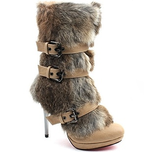 [SHOESONE.BIZ] 2106  Beige Triple Buckle Faux Mink Fur Boots (11cm)