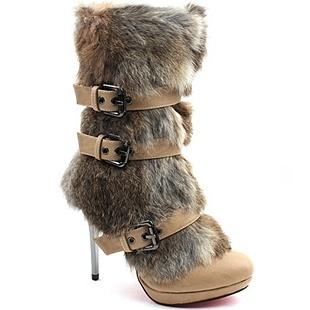 [SHOESONE.BIZ] 2106  Beige Triple Buckle Faux Mink Fur Boots (11cm)
