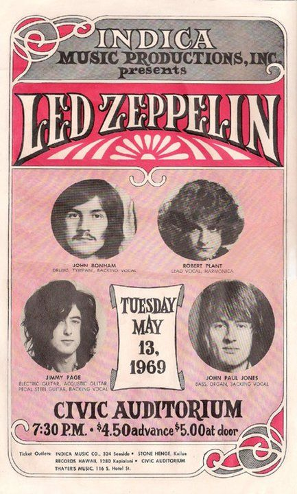 Led Zeppelin Civic Auditorium 1969.  5.00 at the door!  I wish I had a time machine.