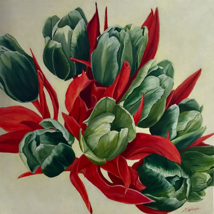 """Tulips in reserved colours"" acrylschilderij 80 x 80"