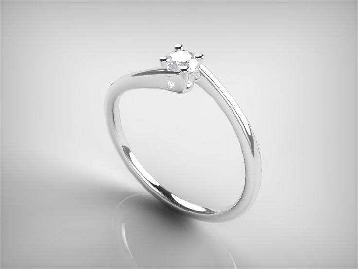 Anillo de compromiso con diamante natural certificado VS2 G 0.1 qt.