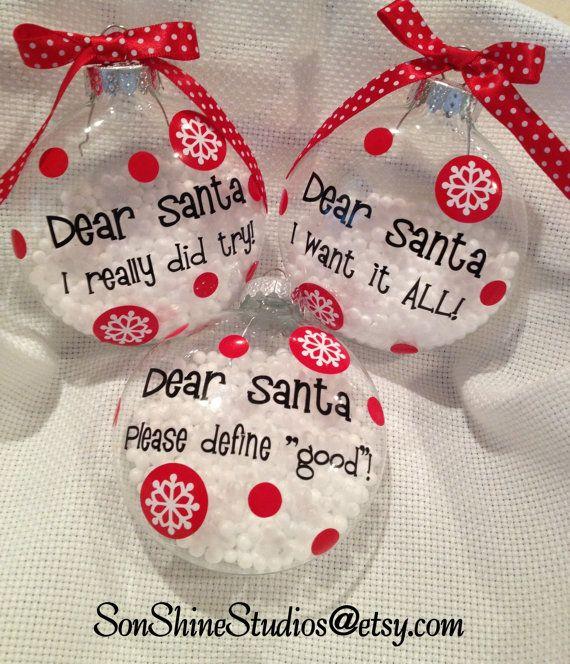 Estimado Santa Navidad adornos por sonshinestudios en Etsy