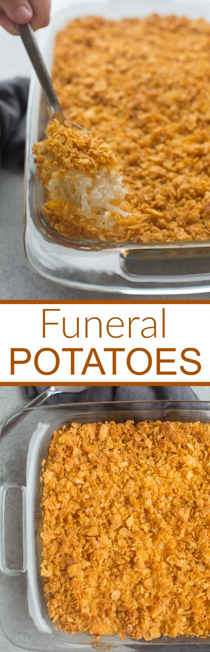 Easy, cheesy funeral potatoes are a delicious hash brown casserole that makes the perfect warm, comforting side dish!| Tastes Better From Scratch