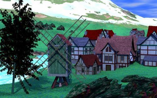 Pueblo rural de casas de madera