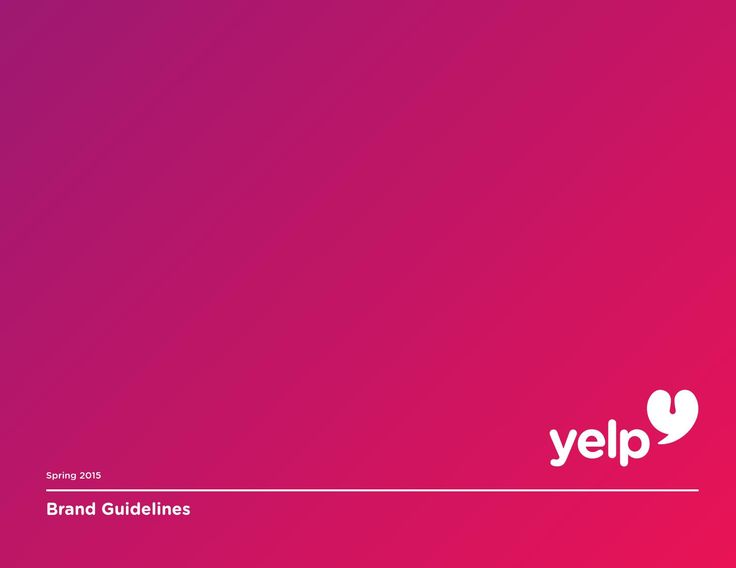 Yelp Brand Guidelines (Proposal)  This is a brand redesign proposal for yelp. The book contains guidelines for the new logo, use of typography, photography, color, etc.