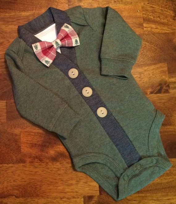 Christmas Baby Boy Cardigan One Piece Bow Tie Set, Green Infant Cardigan with…