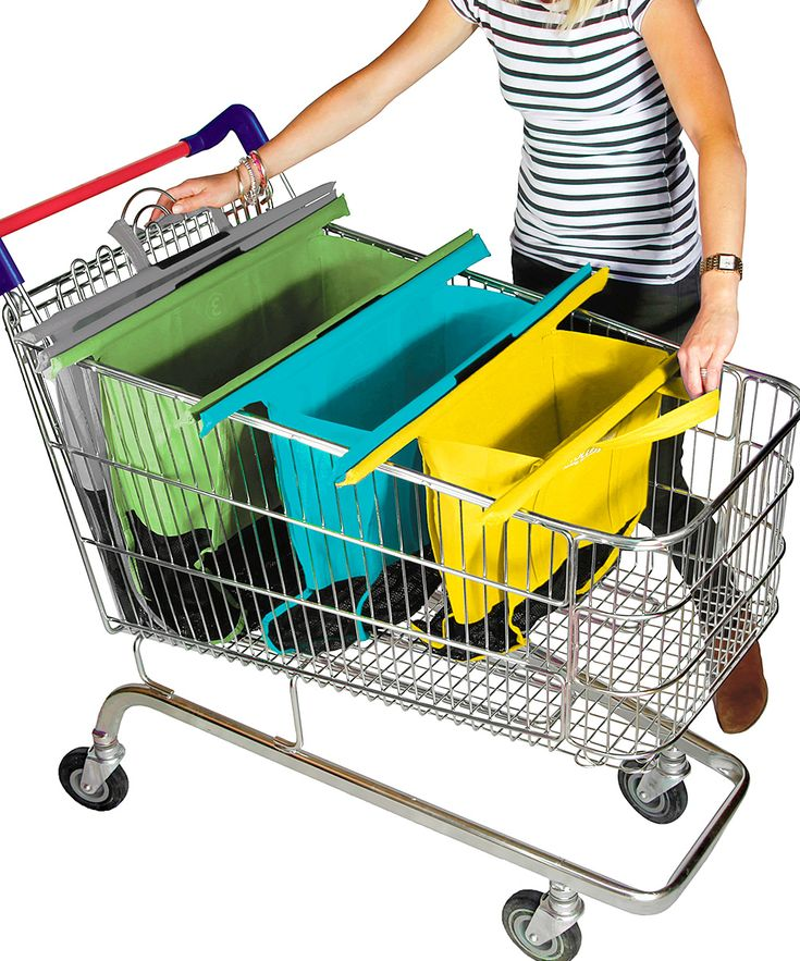 Stay organized while shopping with these trolley bags that go into your cart and separate the items as you pick them up. A simple roll-up design allows for hassle-free storage.  Includes four bagsYellow with rails: 45'' W x 65'' H x 20'' DBlue with rails: 50'' W x 65'' H x 25'' DGreen with rails: 55'' W x 65'' H x 25'' DGray with rails: 55'' W x 65'' H x 28'' DPolyesterMachine washImported