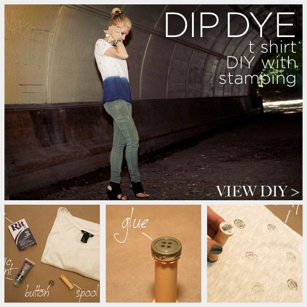 Dip Dye T Shirt DIY with Stamping Feature