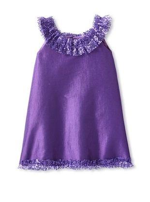 66% OFF Isabel Garreton Kid's A-Line Dress with Embellished Collar and Hem (Plum)