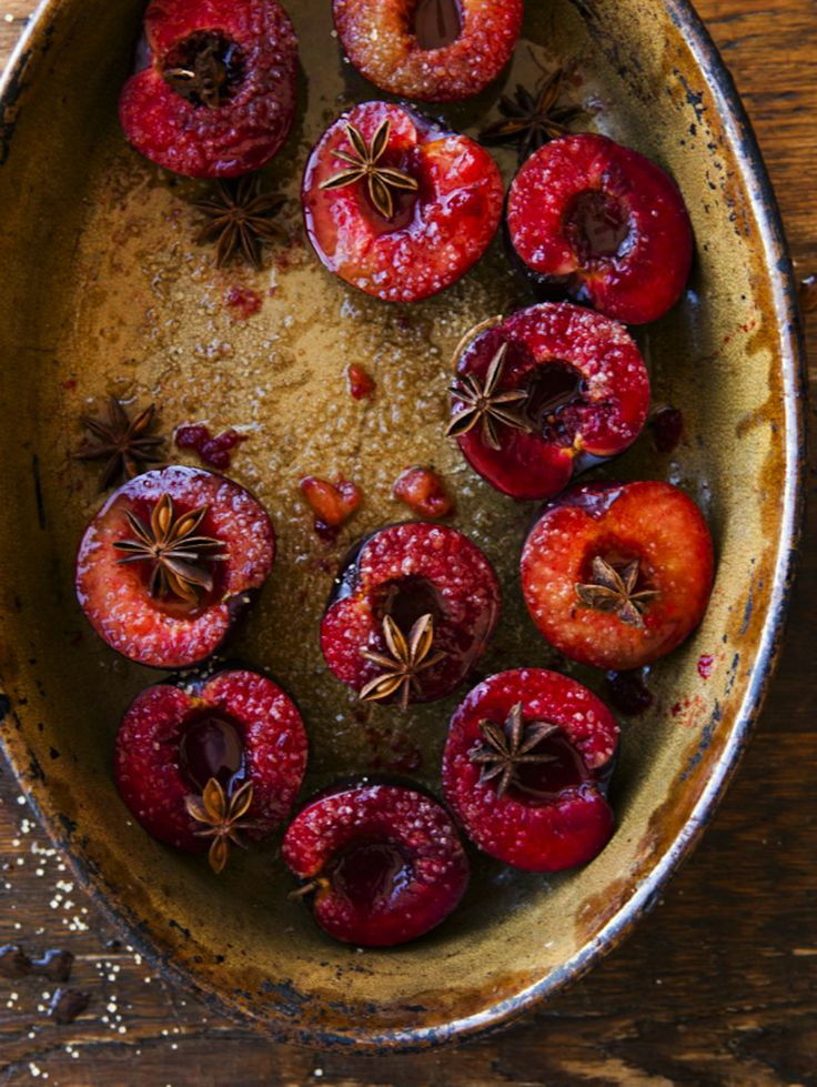 Oven roasted star anise plums