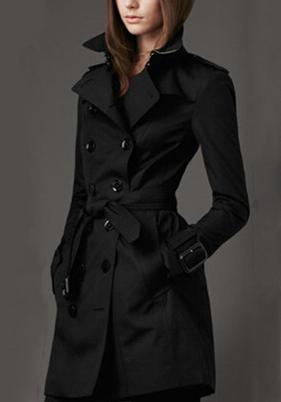 Black Plain Belt Double Breasted Trench Coat | Common sense Be