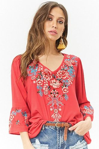 2778ed86ac758 Floral Embroidered Peasant Top Peasant Tops