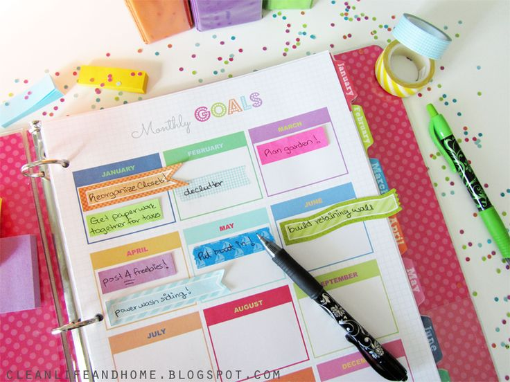 FREE Printable Monthly Goals Page by Clean Life and Home