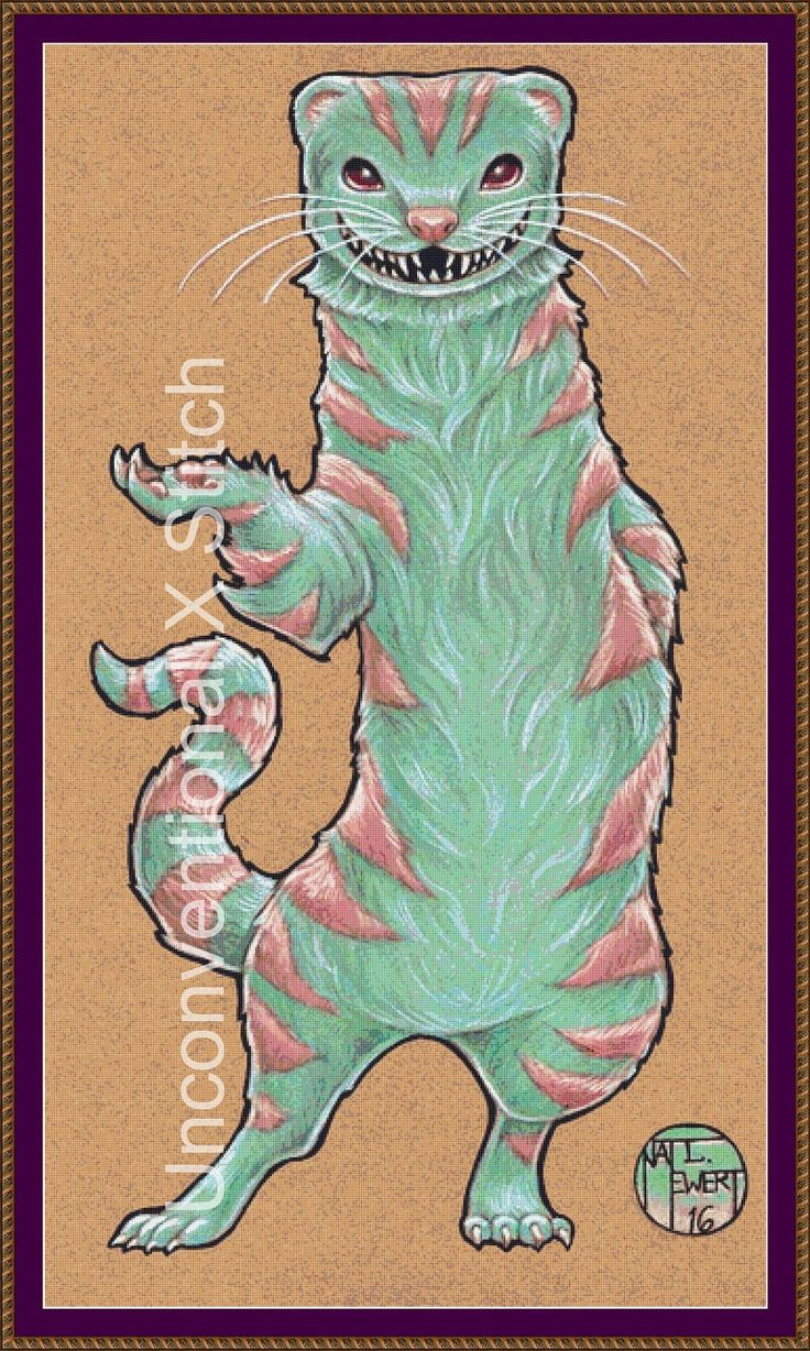 Cheshire Ferret cross stitch pattern LARGE EDITION - chesire cat - modern counted cross stitch - Licensed Natalie Ewert by UnconventionalX on Etsy