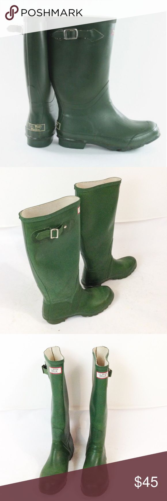 LL Bean Green Wellies Rain Boots Hunter Style Classic green wellie boots from LL Bean. High quality and perfect for even the rainiest of days! Made in England. Light scuffing and wear. L.L. Bean Shoes Winter & Rain Boots