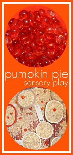 Fall Fun with Pumpkin Pie Sensory Play from www.fun-a-day.com --- A SCENTsory experience for the kiddos. Simple set up, hours of imaginative play and sensory fun!