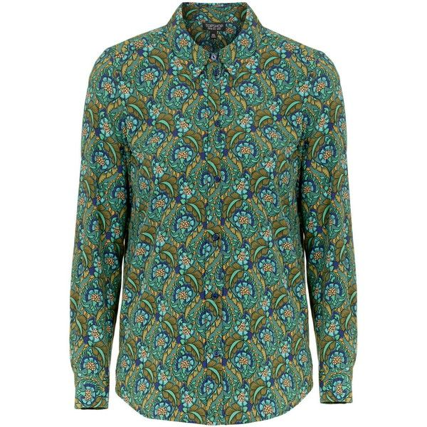 TopShop '70s Floral Print Shirt (76 CAD) ❤ liked on Polyvore featuring tops, topshop, blouses, green, shirts, button front shirt, tailored shirts, floral print tops, green top and dressy holiday tops