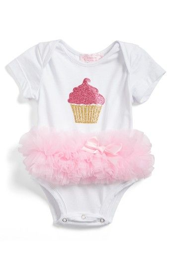 Popatu Cupcake Tutu Skirted Bodysuit (Baby Girls). A sparkling cupcake graphic adds to the sweetness of a classic bodysuit embellished with a tutu skirt and grosgrain bow.