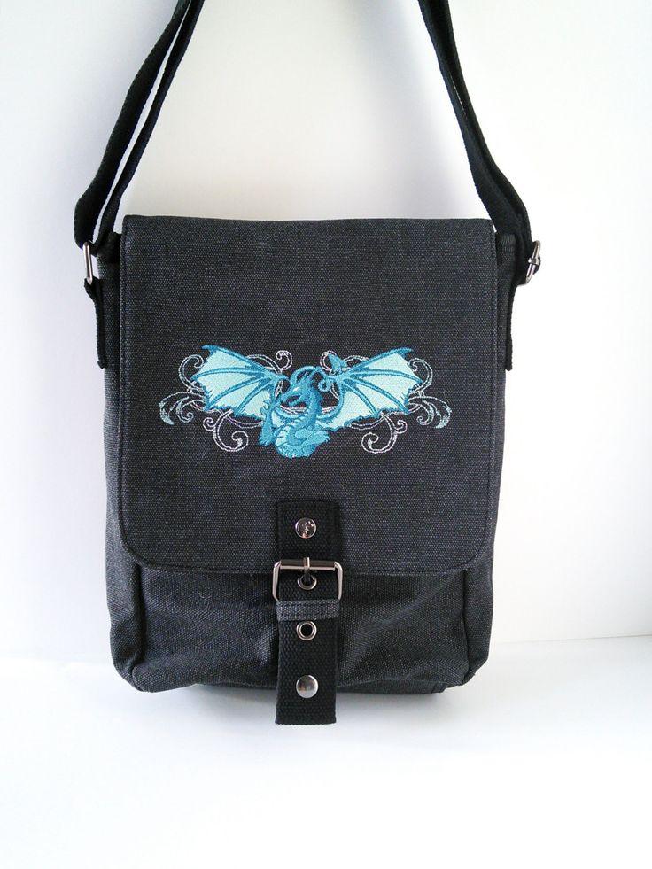 Black canvas ipad bag, ipad case, tablet bag, dragon bag, fantasy bag, shoulder bag, crossbody bag, college bag, work bag, mens bag, manbag by JaneAtNumber13 on Etsy