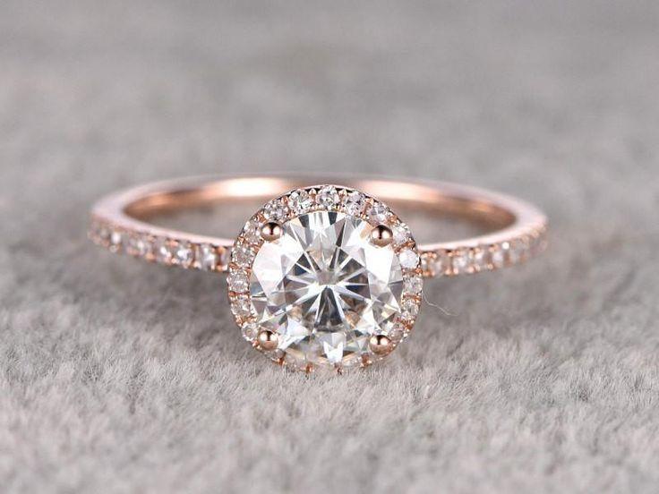 1,25 ct brillanter Moissanite-Verlobungsring aus Roségold, klassischer …