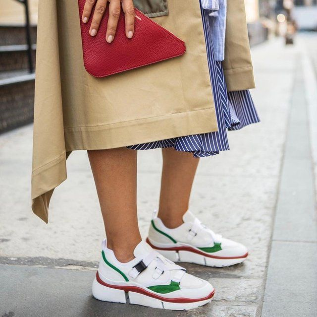 Chloe White and Green Sonnie Sneakers