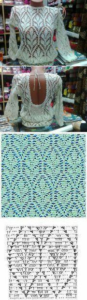 Великолепный блузон с открытой спиной (крючок). | Вязание крючком | Постила