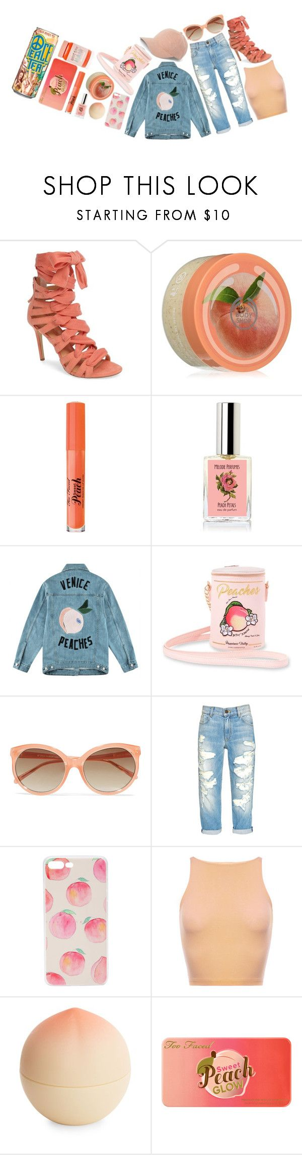 """""""🍑Just Peachy🍑"""" by pixleyhunter ❤ liked on Polyvore featuring Daya, The Body Shop, Too Faced Cosmetics, Être Cécile, Betsey Johnson, Linda Farrow, Tony Moly and Lime Crime"""