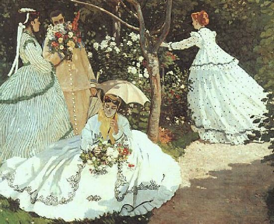 The Soft Bustle Fashion Silhouette 1867-1875     By 1867 with the fullness bunched up to the back of the skirt creating a polonaise style, crinolines and cages suddenly disappeared evolving into tournures or bustles. The bustles supported accentuated drapes on the hips.: Dorsay, Oil On Canvas, Claude Monet, Woman, Gardens, D Orsay Museum, Claudemonet, In Gardening, Painting
