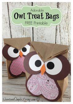 Owl Crafts: Easy Treat Bag. Perfecto para recuerdos de fin de curso